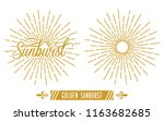 golden vintage sunburst vector... | Shutterstock .eps vector #1163682685