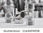 concept of plumbing tools and... | Shutterstock . vector #1163694058