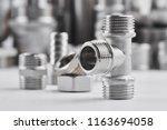 concept of plumbing tools and... | Shutterstock . vector #1163694058