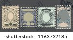 vector set of old postage... | Shutterstock .eps vector #1163732185