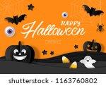 halloween sale banner design... | Shutterstock .eps vector #1163760802