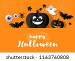 halloween banner design with... | Shutterstock .eps vector #1163760808