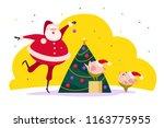 vector flat merry christmas... | Shutterstock .eps vector #1163775955