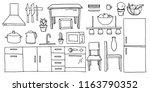 hand drawn cartoon black and... | Shutterstock .eps vector #1163790352