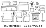 hand drawn cartoon black and... | Shutterstock .eps vector #1163790355