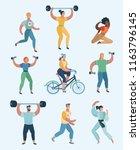 group people practicing... | Shutterstock .eps vector #1163796145