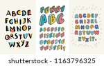 3 sets of english hand drawn... | Shutterstock .eps vector #1163796325
