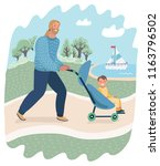 happy funny father with child... | Shutterstock .eps vector #1163796502