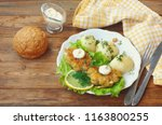 homemade fish cutlets with... | Shutterstock . vector #1163800255