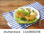 homemade fish cutlets with... | Shutterstock . vector #1163800258