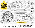 vareniki. pelmeni. meat...   Shutterstock .eps vector #1163807785