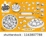 vareniki. pelmeni. meat... | Shutterstock .eps vector #1163807788