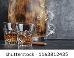 strong alcoholic drink scotch... | Shutterstock . vector #1163812435