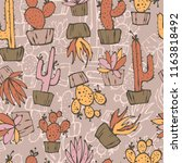cartoon seamless pattern with... | Shutterstock .eps vector #1163818492