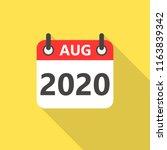 august 2020 calendar flat style ... | Shutterstock .eps vector #1163839342
