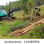 Heavy forestry vehicle harvester employed in cut-to-length logging operations - stock photo