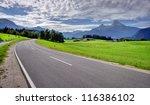 road in Bavarian Alps mountain landscape, Germany - stock photo