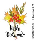 watercolor drawing  autumn... | Shutterstock . vector #1163862175