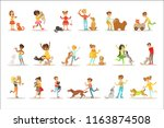 children and cats illustrations ... | Shutterstock .eps vector #1163874508