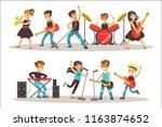 children musicians performing...   Shutterstock .eps vector #1163874652