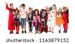 kids with face paint and... | Shutterstock . vector #1163879152