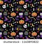 halloween seamless vector... | Shutterstock .eps vector #1163893822