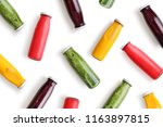 colorful smoothies in glass... | Shutterstock . vector #1163897815