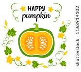 happy pumpkin banner.autumn... | Shutterstock .eps vector #1163914102