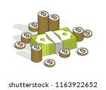 cash money dollar stacks and... | Shutterstock .eps vector #1163922652