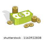 cash money dollar stacks and... | Shutterstock .eps vector #1163922838