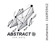 abstract 3d polygonal wireframe ... | Shutterstock .eps vector #1163925412