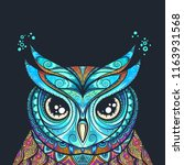 owl with tribal ornament. hand... | Shutterstock .eps vector #1163931568