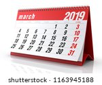 march 2019 calendar. isolated...   Shutterstock . vector #1163945188