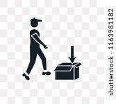 delivering box vector icon... | Shutterstock .eps vector #1163981182