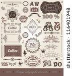 vector set  calligraphic design ... | Shutterstock .eps vector #116401948