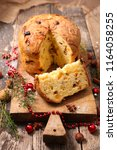 christmas panettone on board | Shutterstock . vector #1164058255
