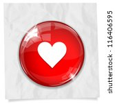 Vector Glossy Red Round Heart...