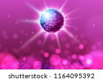 disco ball. disco ball pink... | Shutterstock .eps vector #1164095392