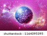 Stock vector disco ball disco ball pink background 1164095395