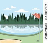 golf curse with sand trap and... | Shutterstock .eps vector #1164097975
