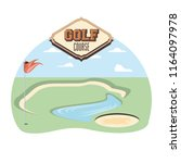 golf curse with sand trap and... | Shutterstock .eps vector #1164097978