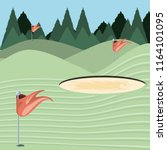 golf curse with sand trap | Shutterstock .eps vector #1164101095
