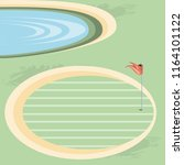 golf curse with sand trap and... | Shutterstock .eps vector #1164101122