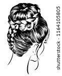 women hairstyles with braided... | Shutterstock .eps vector #1164105805