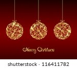 gold christmas balls on red... | Shutterstock .eps vector #116411782