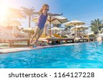 a child jumps into the pool.... | Shutterstock . vector #1164127228