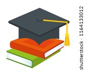 pile text books with hat... | Shutterstock .eps vector #1164133012