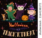 halloween poster with kids in... | Shutterstock .eps vector #1164138172