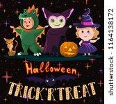 halloween poster with kids in... | Shutterstock .eps vector #1164138172