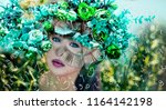 woman and numerology world | Shutterstock . vector #1164142198